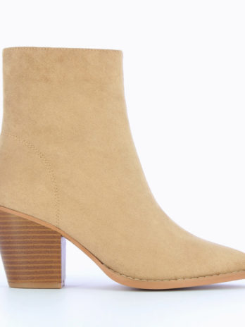 Bottines à talon en suédine beige