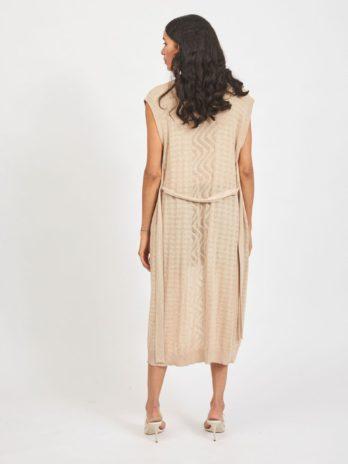 Gilet tricot long (beige)