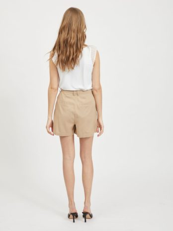 Short beige taille haute